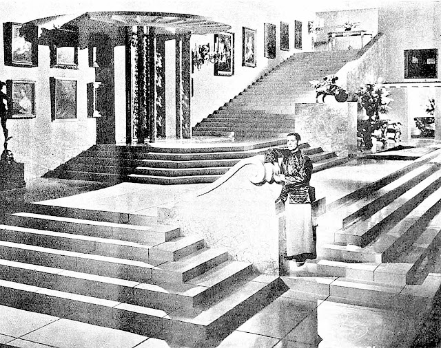 a 1938 cinema stage set with stairs and drama