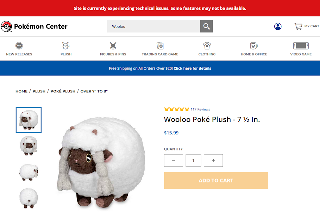 Pokémon Center experiencing technical issues Wooloo plush