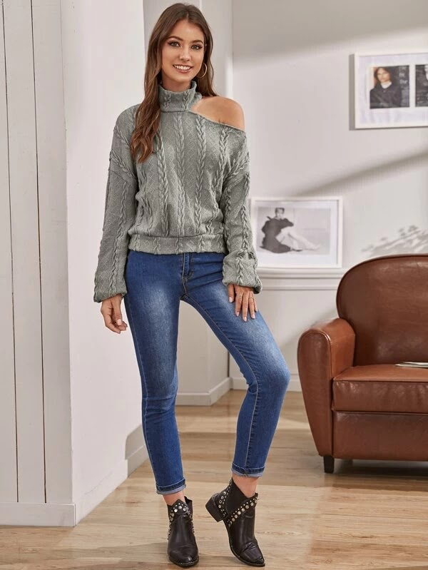 Outfits Ideas #6 - Cable Knit Cutout Shoulder Lantern Sleeve Sweater