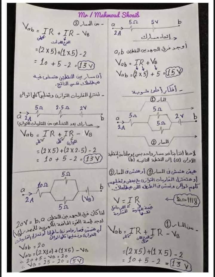 جميع أفكار مسائل الفصل الأول في الفيزياء للثانوية العامة - مهمة جداً 2