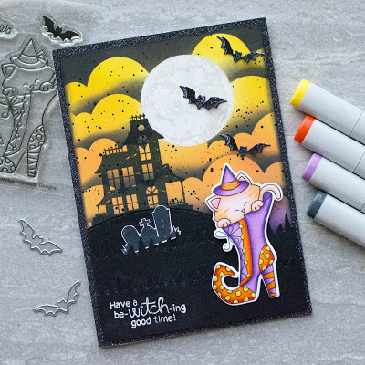 Have a be-witching good time by Amy T. features Clouds, Spooky Street, Witchy Newton, Halloween Trio, and Land Borders by Newton's Nook Designs; #newtonsnook, #cardmaking, #halloween