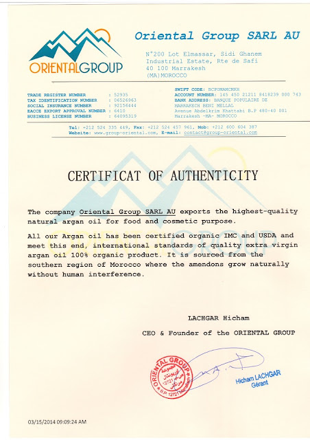 Certificat Of  Authenticity
