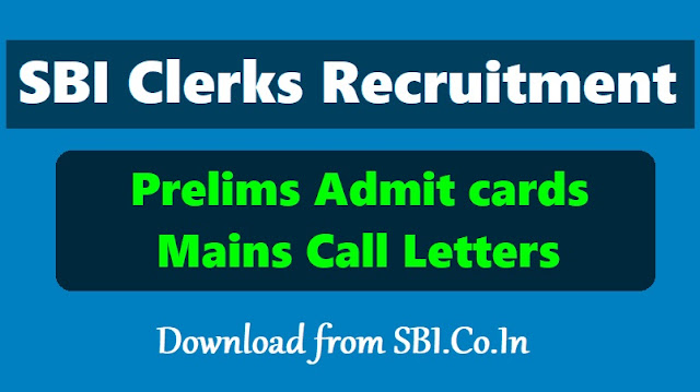 SBI Clerks (Junior Associates) prelims Admit cards 2019 download from June 6