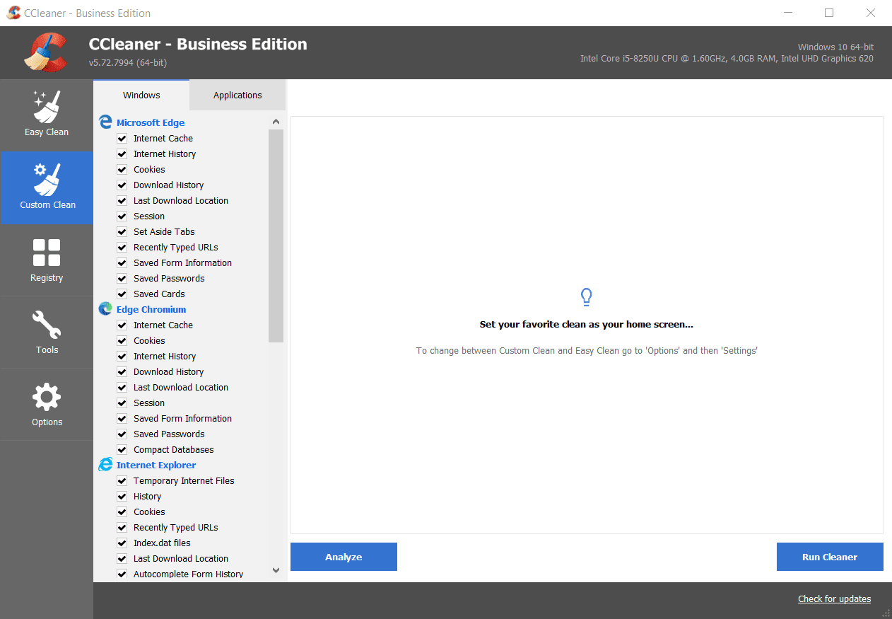Screenshot of CCleaner Business Custom Clean Moudle