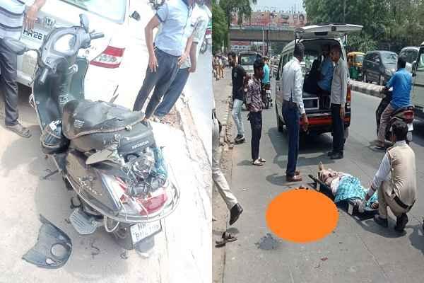 faridabad-neelam-pul-accident-skooty-rider-death-on-the-spot