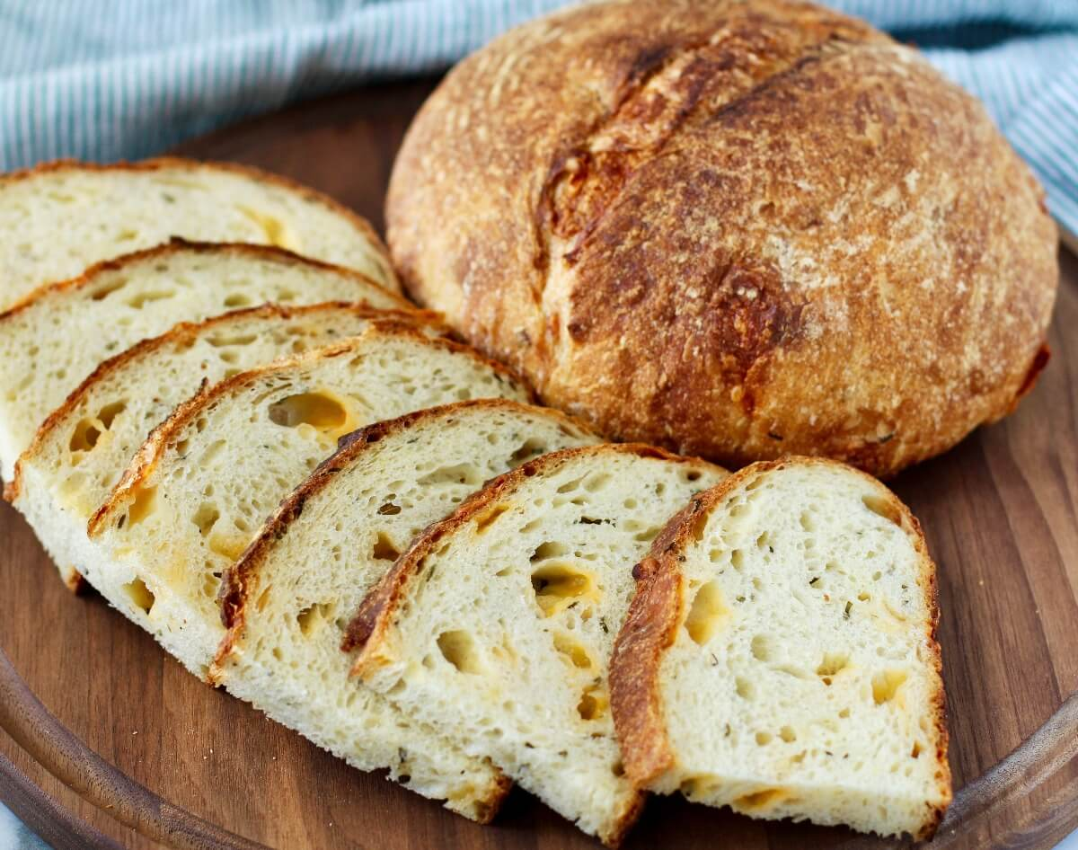 Cheddar Chive Sourdough Bread slices arrayed