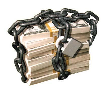 fajos billetes dolares cadena candado