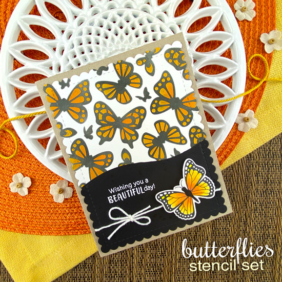 Butterfly Card by Jennifer Jackson | Monarchs Stamp Set, Butterflies Stencil Set, Frames and Flags Die Set and Land Borders Die Set by Newton's Nook Designs #newtonsnook #handmade