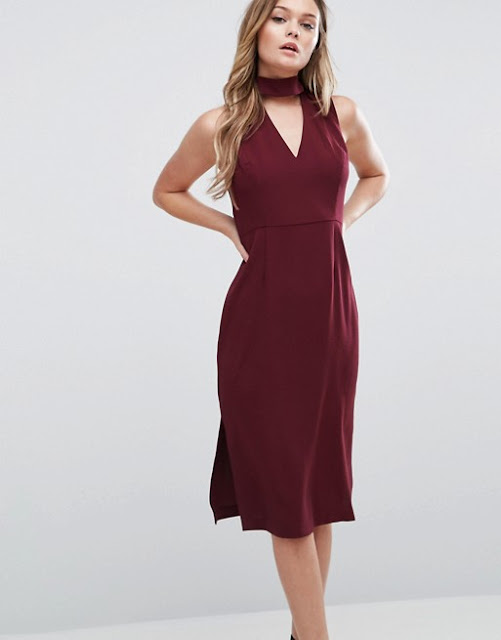 bcbg red dress. red midi dress cutout neck, neck detail red midi dress,