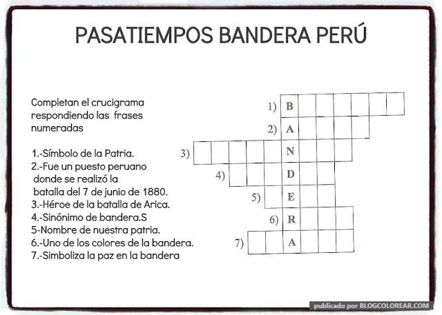 crucigrama bandera del Perú para niños