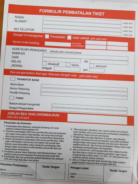 formulir pembatalan tiket kereta api