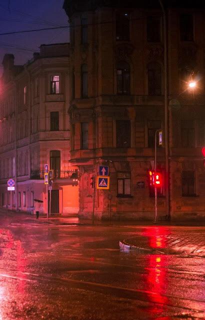 Дождливый Питер Санкт-Петербург СПб улица ночь ночной город светофоры