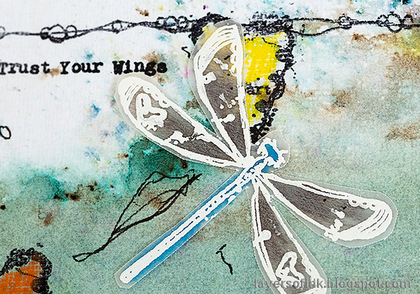 Layers of ink - Butterflies and Dragonflies Tutorial Art Journal Page by Anna-Karin Evaldsson. Vellum dragonfly.