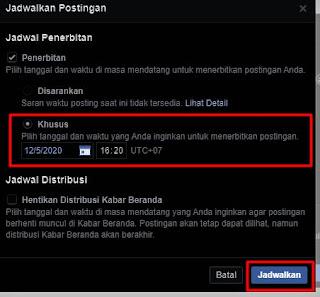 langkah keenam menerbitan postingan terjadwal halaman facebook