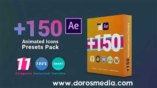 بريسيت ايقونات متحركة منوعة للافتر افكت 150 Animated Icons Presets Pack - After Effects Presets