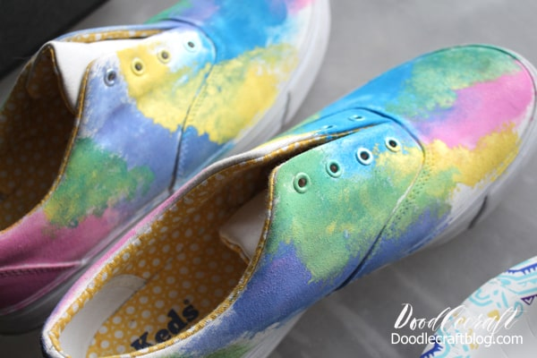 Upcycle plain white keds into shoes that are out of this world galaxy painted shoes