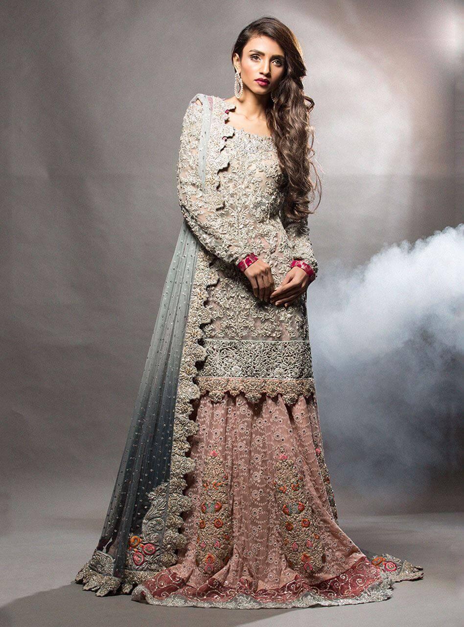 Zainab Chottani Bridal Short Shirt with Pink Lehenga