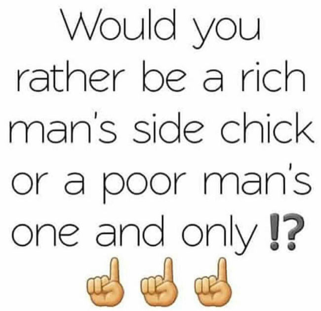 Would you be a rich side chic or a poor main chic? Instagram girls react