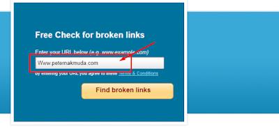 masukan alamat blog pada kotak pencarian cek broken link