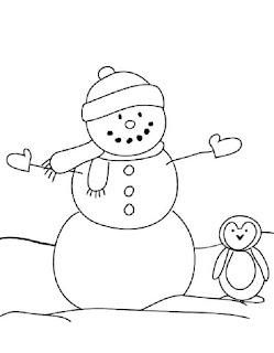 בובת שלג ופינגווין לצביעה