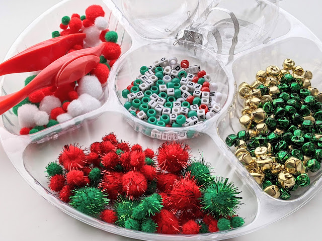 tray with Christmas trinkets