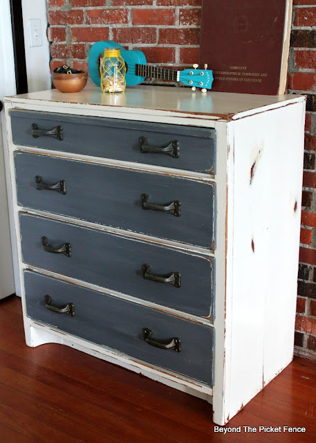 garage sale find, paint makeover, rustic, industrial, dresser, fusion mineral paint, http://bec4-beyondthepicketfence.blogspot.com/2016/06/rustic-industrial-dresser.html