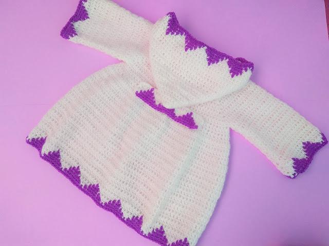 5 - Crochet Imagen Abrigo con capucha crochet parte 2 y ganchillo Majovel Crochet bareta puntada punto sencillo facil DIY canesu manga