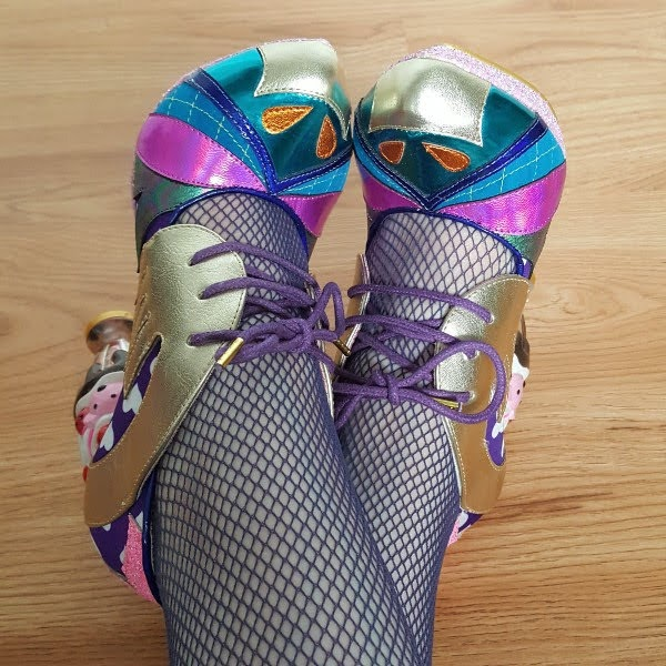 metallic tie front shoes with heart print and ice cream sundae shaped heels