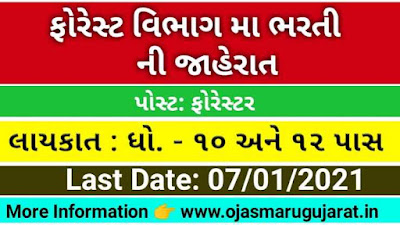 Rajasthan Subordinate & Ministerial Services Selection Board Forester Recruitment 2020-21