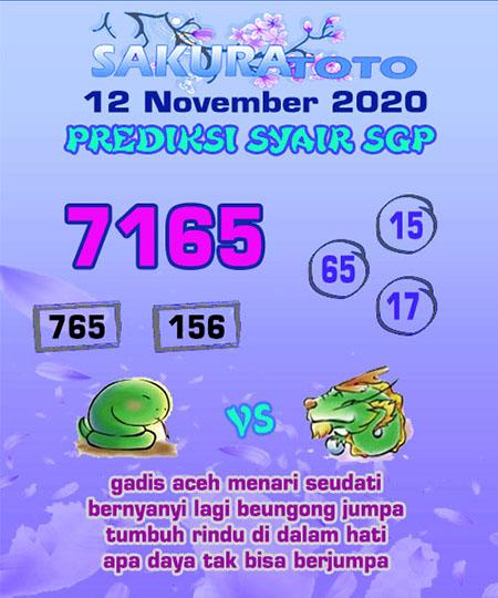 Prediksi Sakuratoto SGP Kamis 12 November 2020