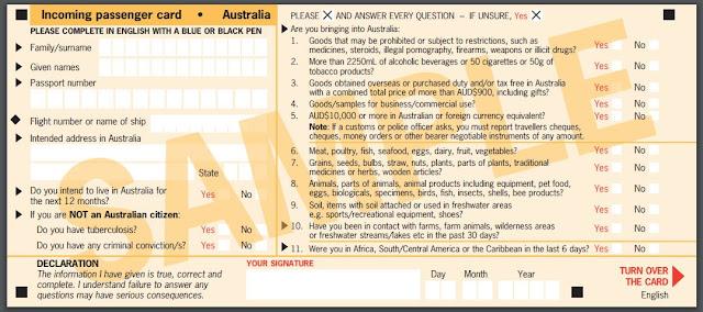 Cara mengisi kartu kedatangan Australia