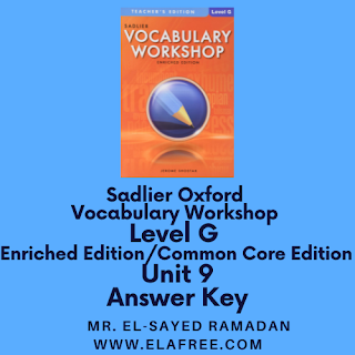 Sadlier Vocabulary Workshop Enriched Edition Level G Unit 9 Answers