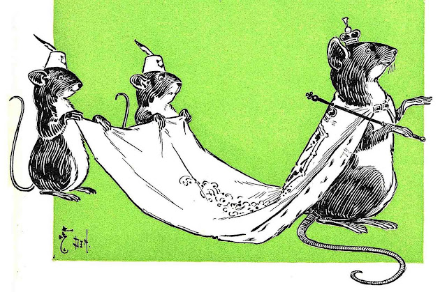 a William Wallace Denslow children's illustration of court mice holding a king mouse's royal cape, on a green background