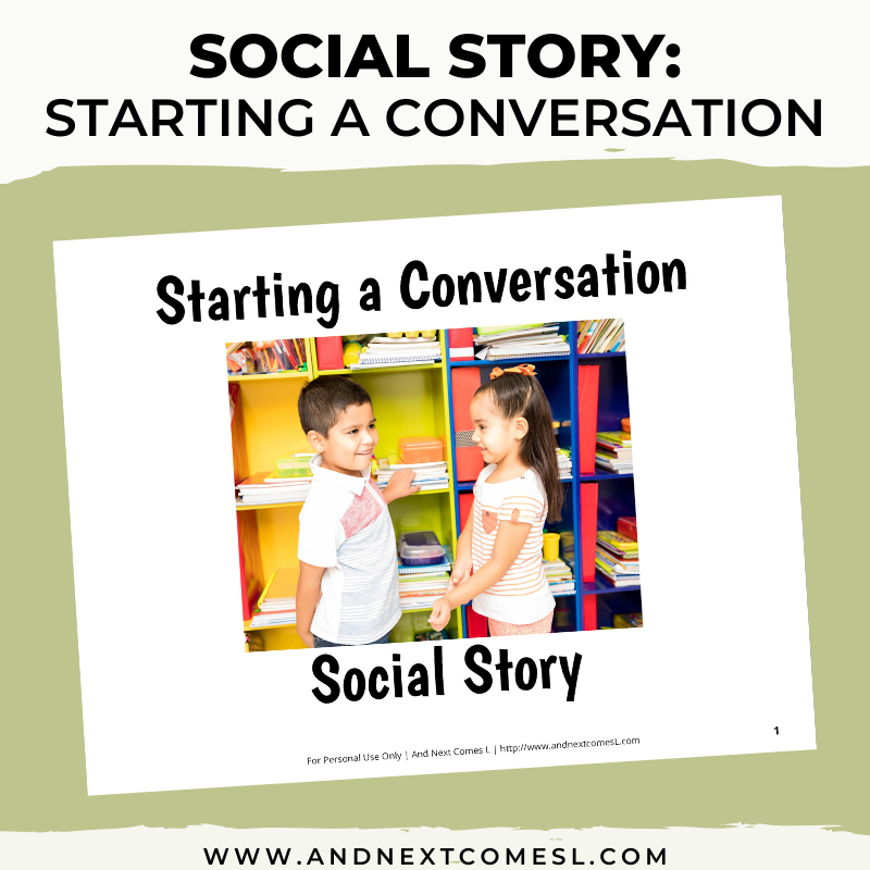 Printable social story for kids with autism about starting a conversation