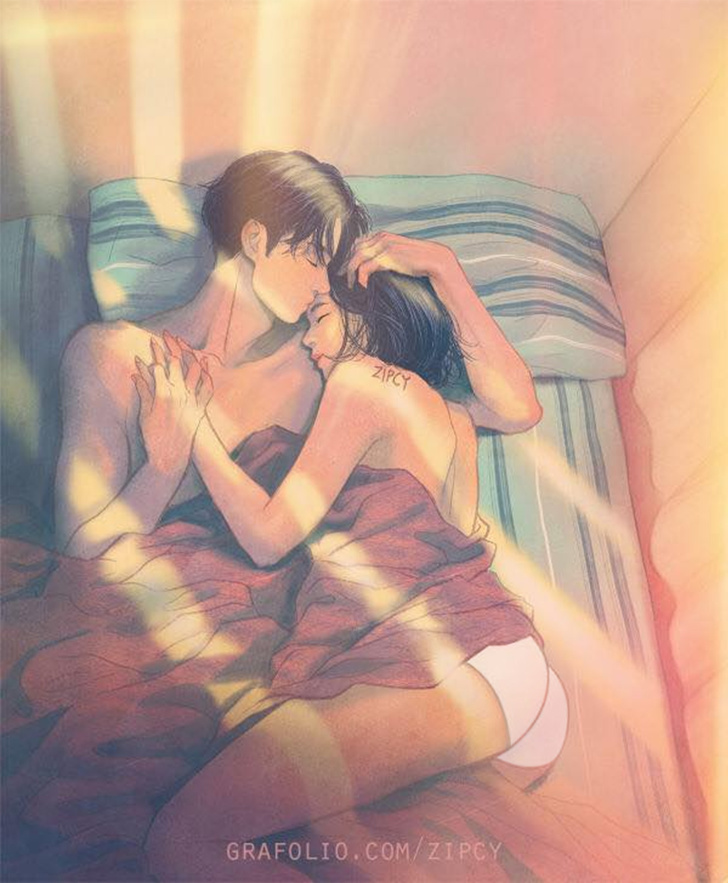 "37 Intimate Illustrations For Love Couples By Korean Illustrator ""ZIPCY"" 