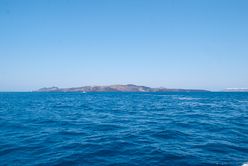 Image of the volcano island and sea in santorini