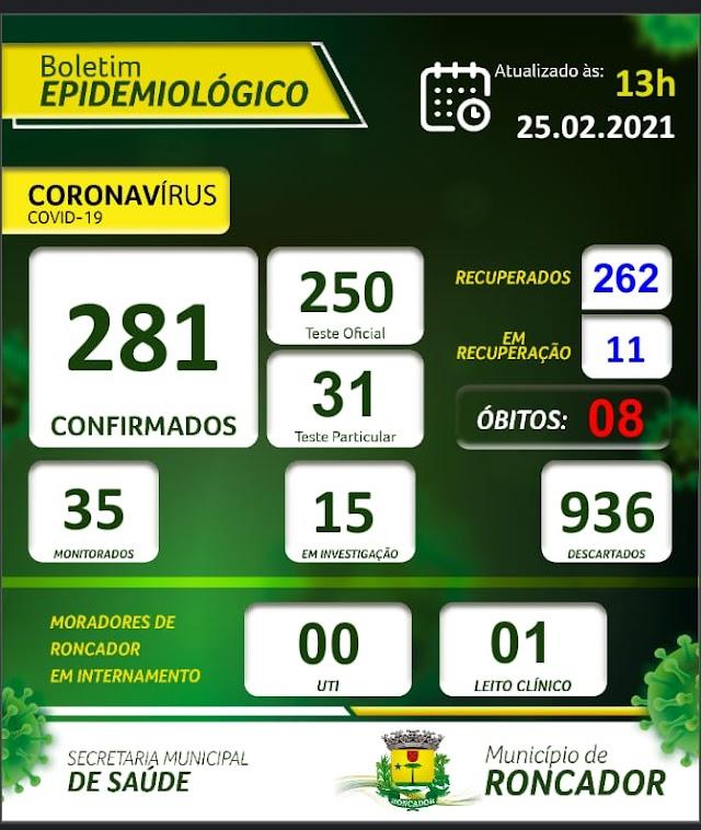 Boletim Epidemiológico de Roncador em 25 de fevereiro