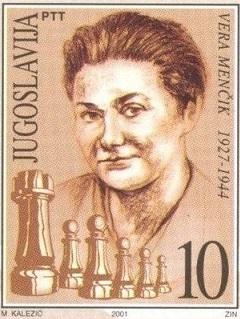 Vera Menchik en un sello de correos de Yugoslavia