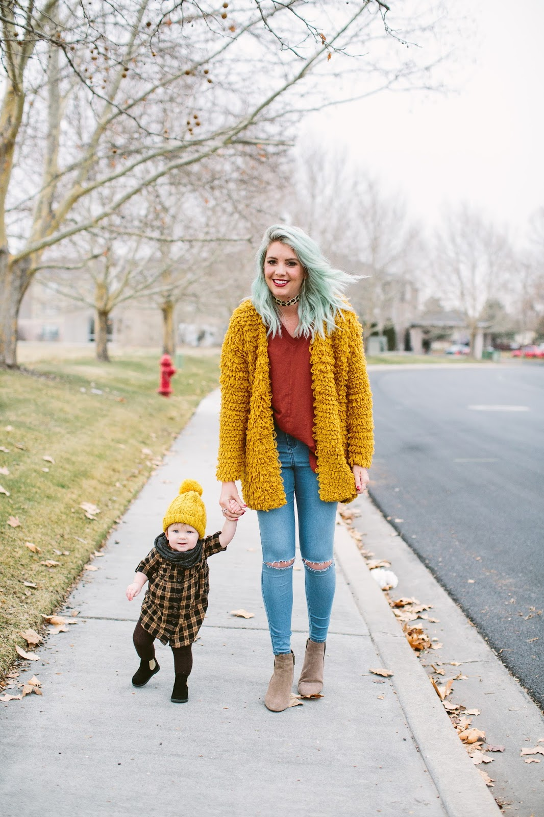 Mommy and Me, Winter Outfit, Mustard Cardigan