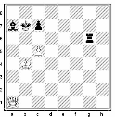 Estudio artístico de G. M. Kasparian (1º Premio, Aljechin MT bulletin 1956)