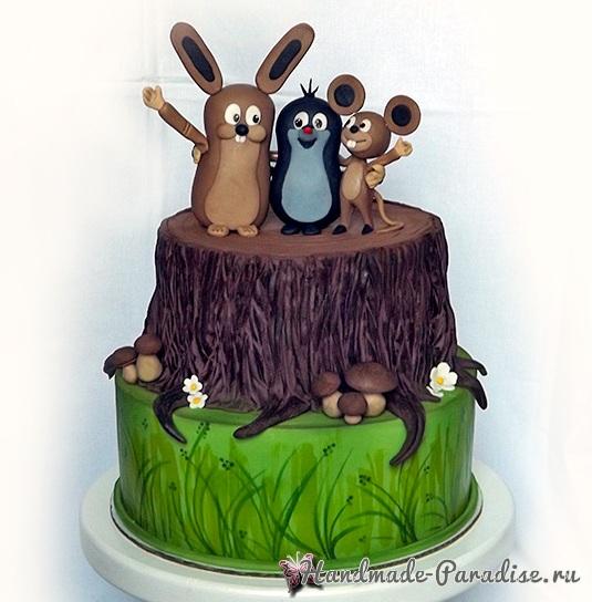 3D торт лесной тематики из сахарной мастики (7)