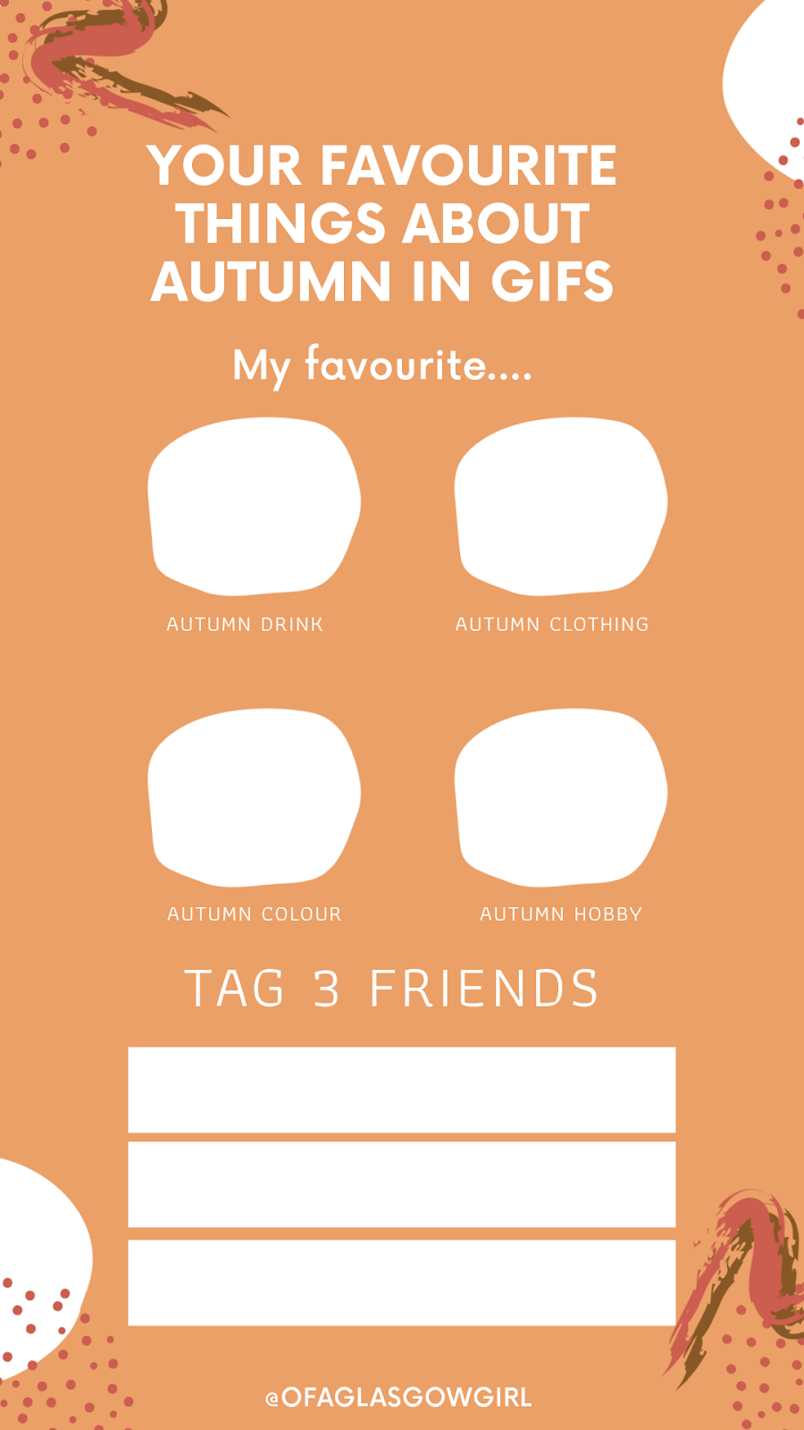 Free Instagram template - Your favourite things about autumn in gifs