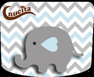 Etiqueta Nucita de Elefante Bebé en Celeste y Gris para imprimir gratis.