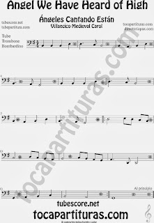Partitura de para Trombón, Tuba Elicón y Bombardino Canción de Navidad Carol Song for Christmas Sheet Music for Trombone, Tube, Euphonium Music Scores