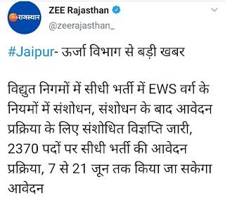 Rajasthan JVVNL Recruitment 2021