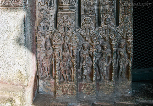 The bottom section of door jamb of Suryanarayana temple with five layers of sculptures