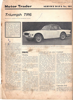 Triumph TR6 Motor Trader article front page from 1969
