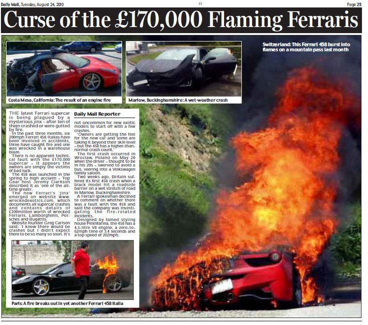 ... Which Documents Accidents Involving Supercars, Said They Had Recorded  Four Incidents Involving The New Ferrari, In The Last Ten Days Alone.