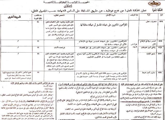 إعلان عن توظيف  بالمحكمة العليا بالجزائر العاصمة  -- ديسمبر 2018