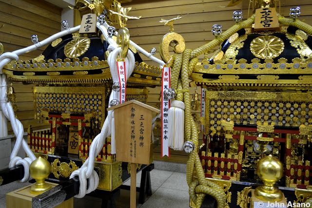Mikoshi portable shrines at Okunitama Shrine